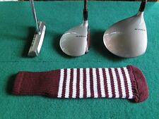 Knitted zebra style Fairway & Driver Golf Club head cover Maroon / Optic White