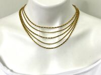 Vintage Signed Monet Necklace Gold Tone 5 Strand Specialty Link Chain Hook Clasp