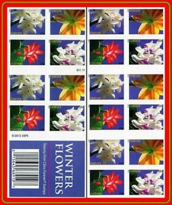 USA 2014 winter FLOWERS booklet imperforated SC#4820d mnh CV$40.00 ## SCARCE $$