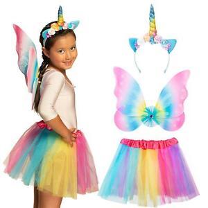 Kids Girls Unicorn Fairy Tale Princess Tutu Wings Headband Party Fancy Dress Set
