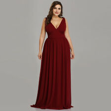 UK Ever-Pretty Burgundy Double V-Neck Evening Gowns Maxi Long Bridesmaid Dresses