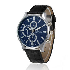Fashion Men's Business Stainless Steel Leather Analog Quartz Sport Wrist Watch