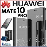 Coque Flip pour Huawei Mate 10 Pro Étui Livre Transparent View 360° A Miroir