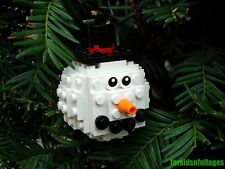 Custom Lego Snowman Christmas Ball Ornament - Stocking Stuffers/Gifts
