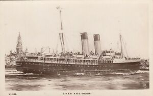 Shipping; LNER Ferry RMS Bruges RP PPC By Kingsway, Unused, c 1910's