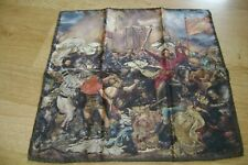 "Macclesfield 100% silk pocket square 16"" The Battle of Grunwald hand rolled"