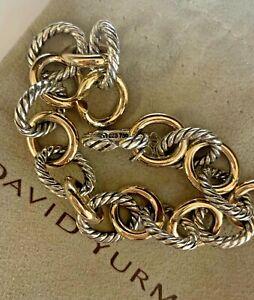 "david yurman 12mm oval large link bracelet 925 and 750 8.5"""