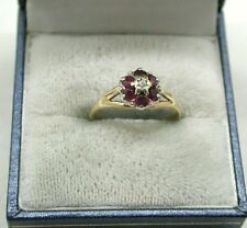 Vintage Pretty 9ct Gold Ruby And Diamond Flower Style Cluster Ring
