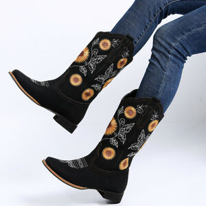Bohemian Floral Print Ankle Boot Exclusive Shoes for Cycling Pointed Flat Bottom