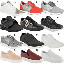 Womens Ladies Flat Trainers Runner Sports Gym Running Shoes Sneakers Pumps Size