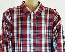 Ecko Unltd Long Roll Up Sleeve Plaid Shirt Ladder Woven Button Up 5X 5XL Red