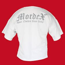MORDEX T-Shirt BW weiss mit grauer Schrift fürs Gym, Fitness, Sport und Freizeit