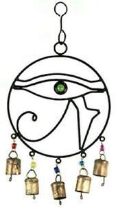"Eye of Horus 7.5"" x 14"" Cast Iron Wind Chime!"