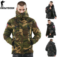 Mens Winter Jackets Army Military Thick Warm Cotton Windproof Hooded Coats Camo