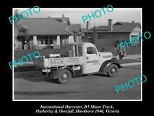 OLD HISTORIC PHOTO OF INTERNATIONAL HARVESTER D5 TRUCK HAWTHORN VICTORIA c1940