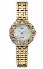 Ladies Seiko Solar Tressia Gold Stainless MOP Dial 36 Diamonds Watch SUP374