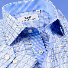 Mens Light Blue Check Formal Business Shirts With Elegant Inner Lining