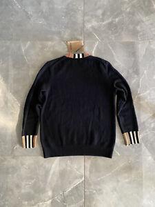 Burberry Pullover, mit Streifen aus Kaschmir, schwarz, Gr. L, Original, Neu