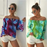 Ladies Women's Shirt Fashion Summer Blouse Long Sleeve T-Shirt Tops Loose Casual