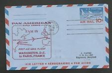 FIRST FLIGHT PAN AMERICAN FAM 18 WASHINGTON PARIS JUN 18,1960  F18-315