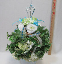 Hanging Twig Ball Artificial Floral Greenery White Rose & Hydranga Topiary