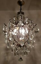 Antique Vintage Brass & Crystals Cage Style Chandelier Lighting Ceiling Lamp