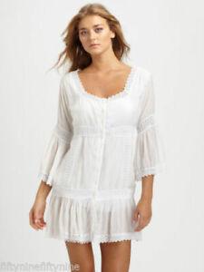 NEW AUTHENTIC MELISSA ODABASH WHITE CROCHET  KAFTAN / DRESS SIZE Small
