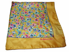 Polo Ralph Lauren Yellow Watercolor Floral Silk Italy Handkerchief Pocket Square