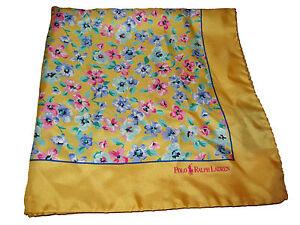 Polo Ralph Lauren Yellow Watercolor Floral Silk Italy Handkerchief Pocket Square
