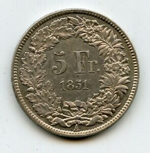 Schweiz 5 Franken 1851 Silber Top Erhaltung