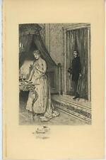 ANTIQUE BEAUTIFUL WOMAN PORTIERE TOILET MIRROR BRUSH POWDER BOX ETCHING PRINT