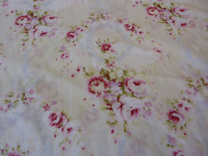 Yuwa Antique French Quilt Inspired Cameo Blue Ribbons Roses Pink Dobby Fabric