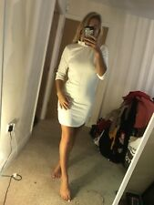 Taille 14 Blanc Boohoo Tortue Cou Doublé Matière moulante Tight court mini robe