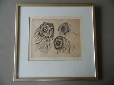 Short Eared Owl Bird Studies, Ian Hay signed LE etching. Listed. Framed