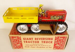 MARX 1950'S VINTAGE GIANT REVERSING TRACTOR TRUCK WITH FARMER-EX++ IN ORIG. BOX!