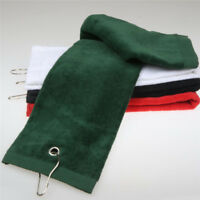 1PC TriFold Outdoor Hiking Sport Golfbag Towel With Carabiner Clip Gift 40*60CM