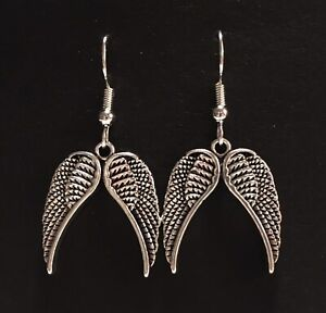 Silver Coloured Dangle Earrings, Double Angel Wings, Pretty, Gothic