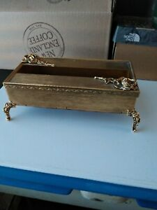 Vintage Gold Tone Metal Ornate Tissue Box Footed Holder Floral  Regency