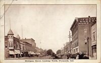 Postcard Michigan Street, Looking North in Plymouth, Indiana~129811