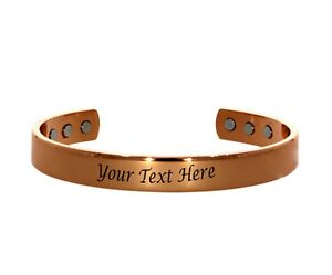 Free Engraving customized Pure Copper Magnet Energy Health Open Bangle  Magnetic