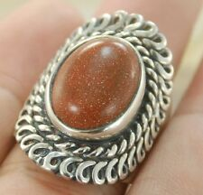 HOT! GOLD SAND STONE GEMSTONE SILVER RING JEWELRY SIZE 8.75 H263