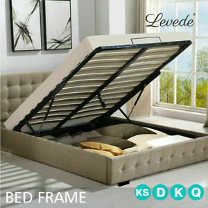 Bed Frame Base With Gas Lift Double Size Platform Fabric Levede