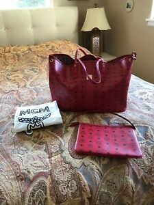 Authentic MCM Reversible Liz Medium Shopper With Pouch Ruby Red Dust Bag Perfect