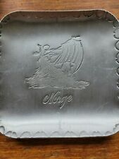 Vintage Norge Norway small Aluminum tin plate Collector Tray Htf Viking Ship!