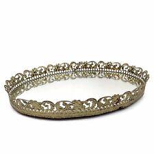 Vtg Mid Century Gold Ornate Filigree Metal Mirror Vanity Tray Hollywood Regency