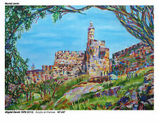"Art new modern Judaica ""Migdal David 78 "" Jerusalem - acrylics- 3'x4'"