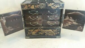 Antique Japanese lacquered Table top Cabinet
