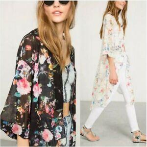 UK STOCK Womens Floral Printed Kimono Tops Cardigan Long Sun Coat Jacket Plus