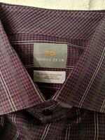 THOMAS DEAN TD Sz XL Purple/ black/gray stripes  Button Front Long EUC