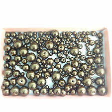 Assortiment de 200 Tailles 4 mm 6 mm 8 mm 10 mm Verre Perles Bronze